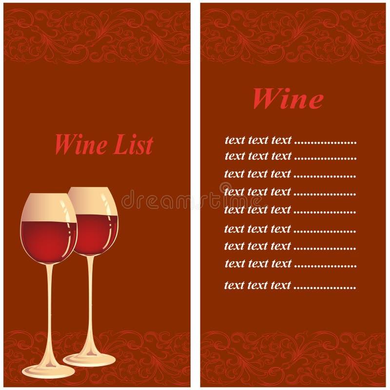 Lista de vinho ilustração do vetor