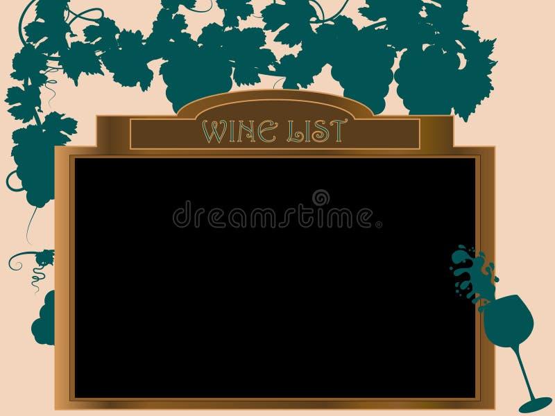 Lista de vinho ilustração stock
