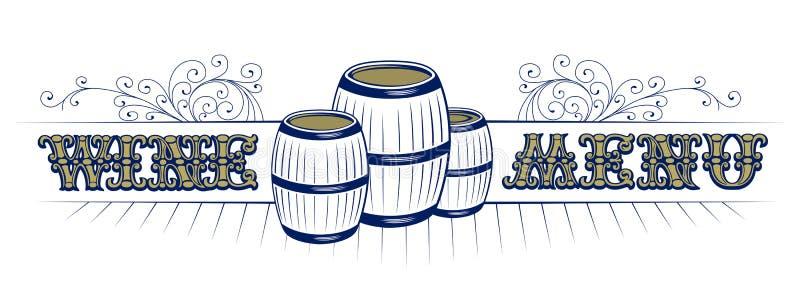 Lista de vino con el modelo del barril y de la vendimia libre illustration