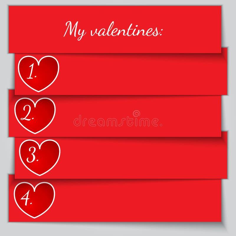 Lista del biglietto di S. Valentino enumerata carta rossa di vettore royalty illustrazione gratis