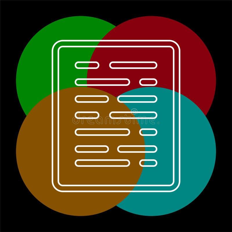 Lista del documento - icona della carta - simbolo della pagina Web illustrazione vettoriale