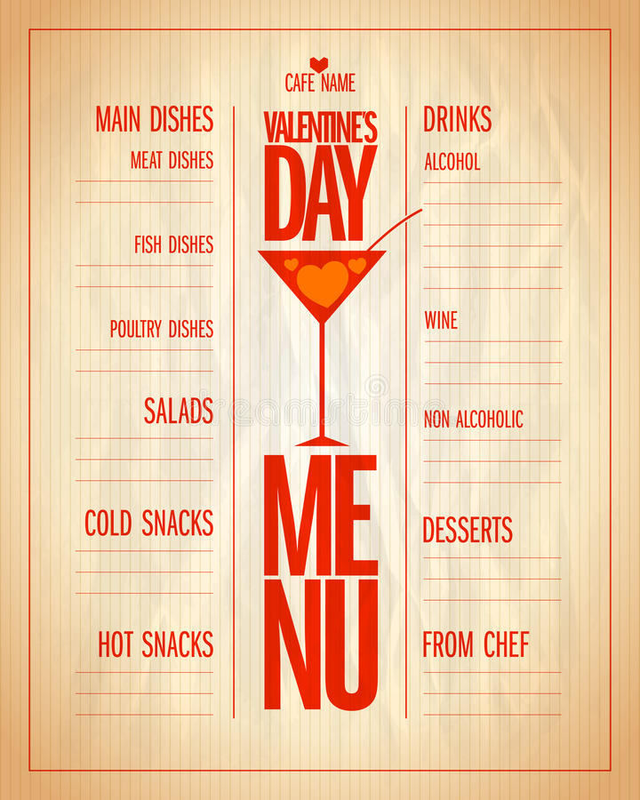 Lista del menú del día de San Valentín con los platos y las bebidas ilustración del vector