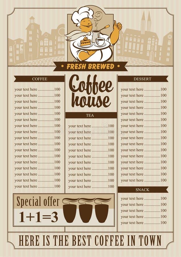 Lista del menú para el café stock de ilustración