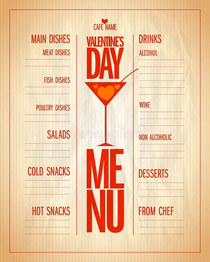 Lista del menu di giorno di S. Valentino con i piatti e le bevande illustrazione vettoriale