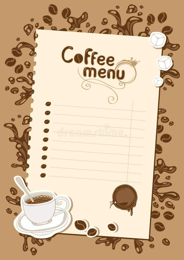 Lista del menu per cioccolato caldo e caffè illustrazione di stock