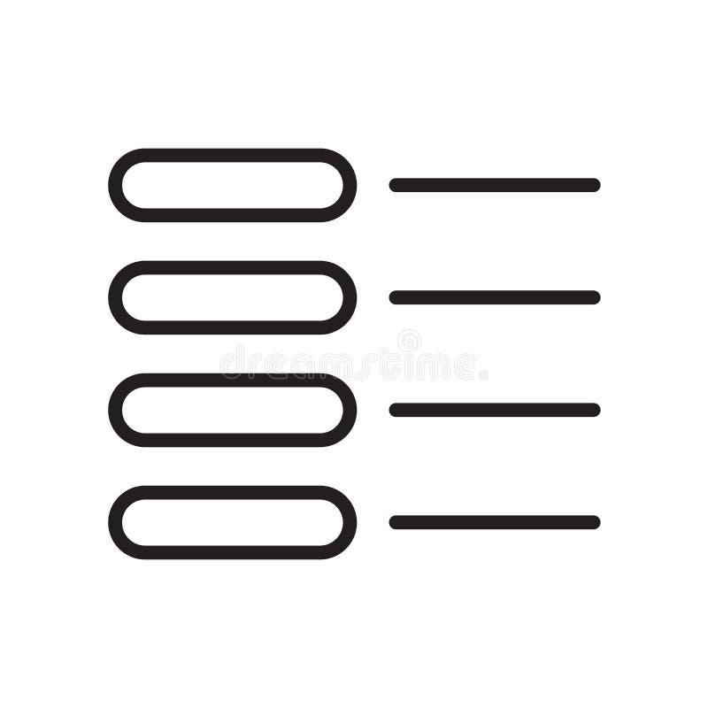 Lista det symbolsvektortecknet och symbolet som isoleras på vit bakgrund, L stock illustrationer