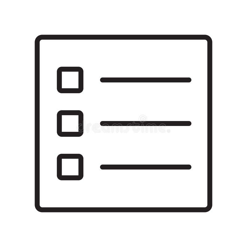 Lista det symbolsvektortecknet och symbolet som isoleras på vit bakgrund, listalogobegrepp stock illustrationer