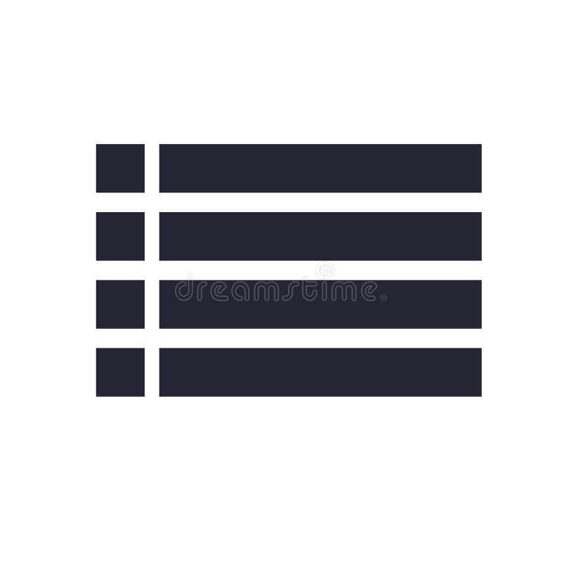 Lista det symbolsvektortecknet och symbolet som isoleras på vit bakgrund, listalogobegrepp royaltyfri illustrationer