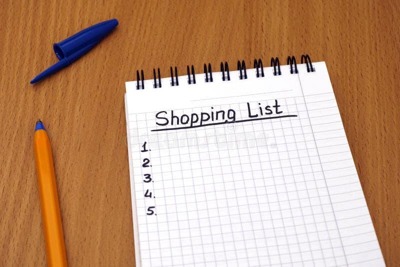 Lista di acquisto fotografie stock libere da diritti