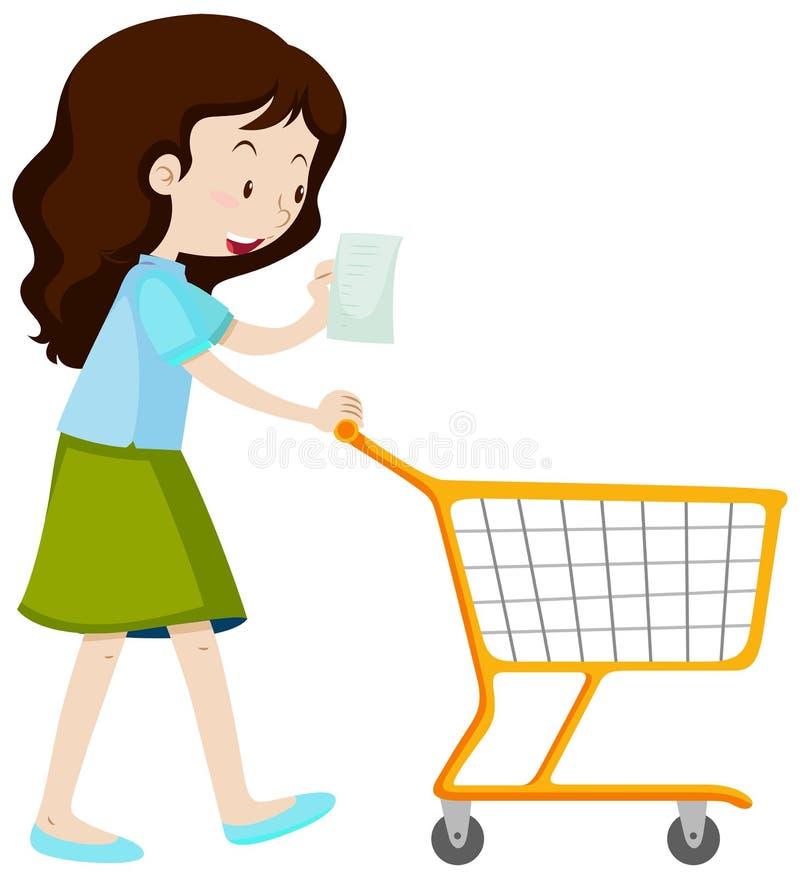 Lista di acquisto della lettura della donna royalty illustrazione gratis