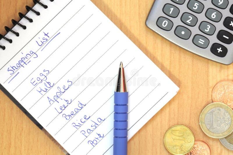 Lista di acquisto scritta a mano fotografia stock