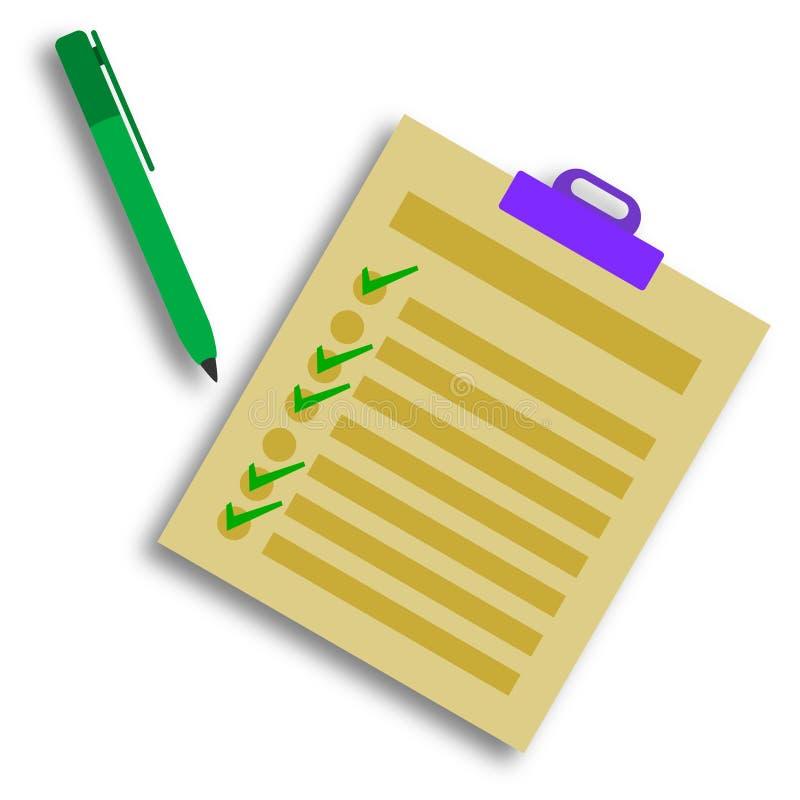 Lista di assegno illustrazione di stock