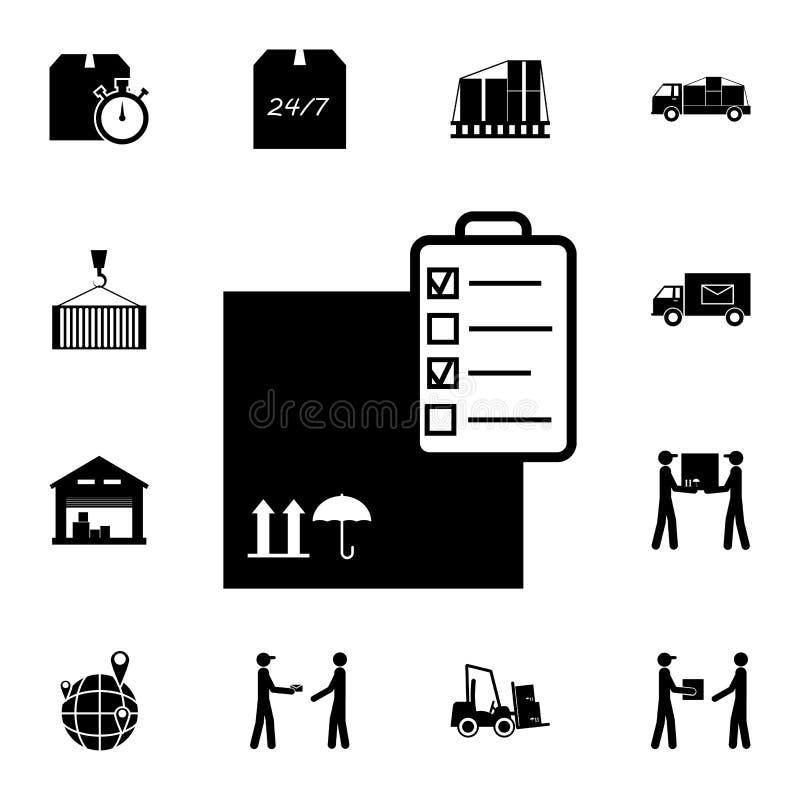 lista di controllo con l'icona del contenitore di imballaggio Insieme dettagliato delle icone logistiche Icona premio di progetta illustrazione vettoriale