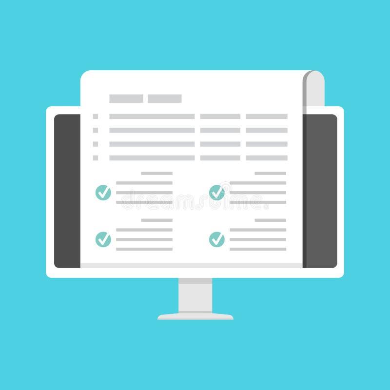 Lista di controllo, concetto online della forma di reclamo Illustrazione di vettore royalty illustrazione gratis