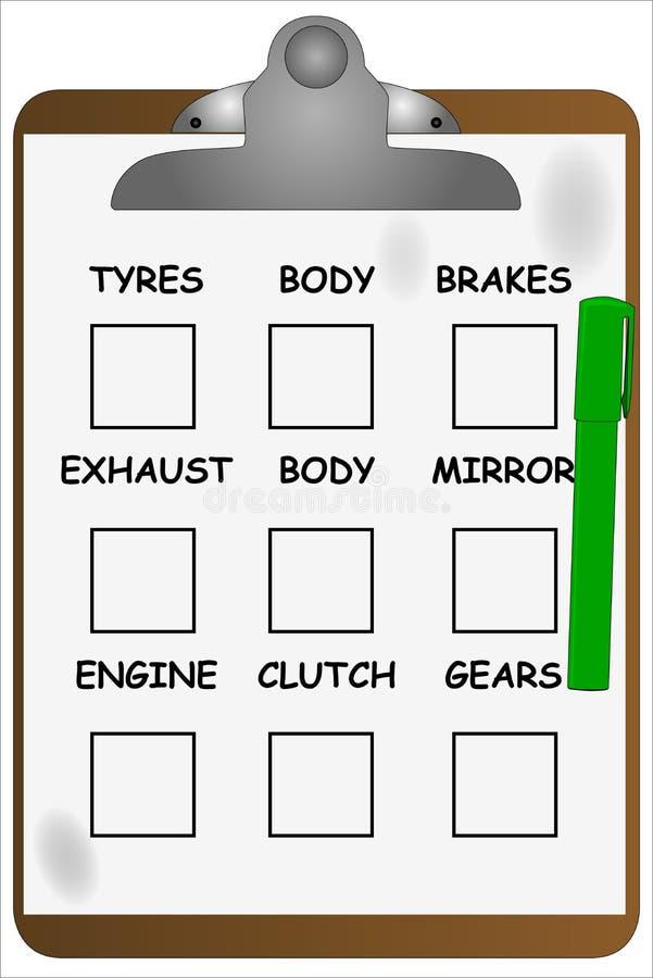 Lista di controllo della lavagna per appunti del garage royalty illustrazione gratis