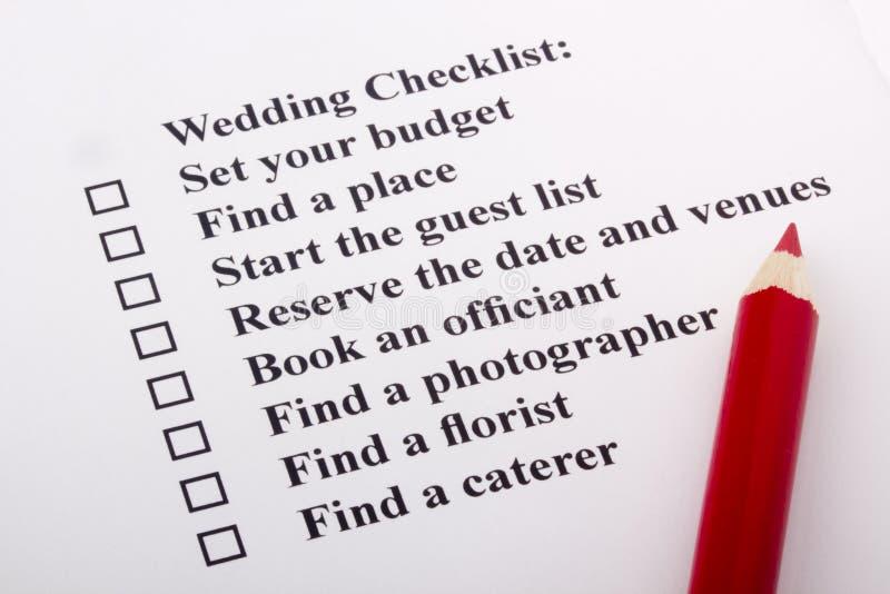 Lista di controllo di cerimonia nuziale immagini stock