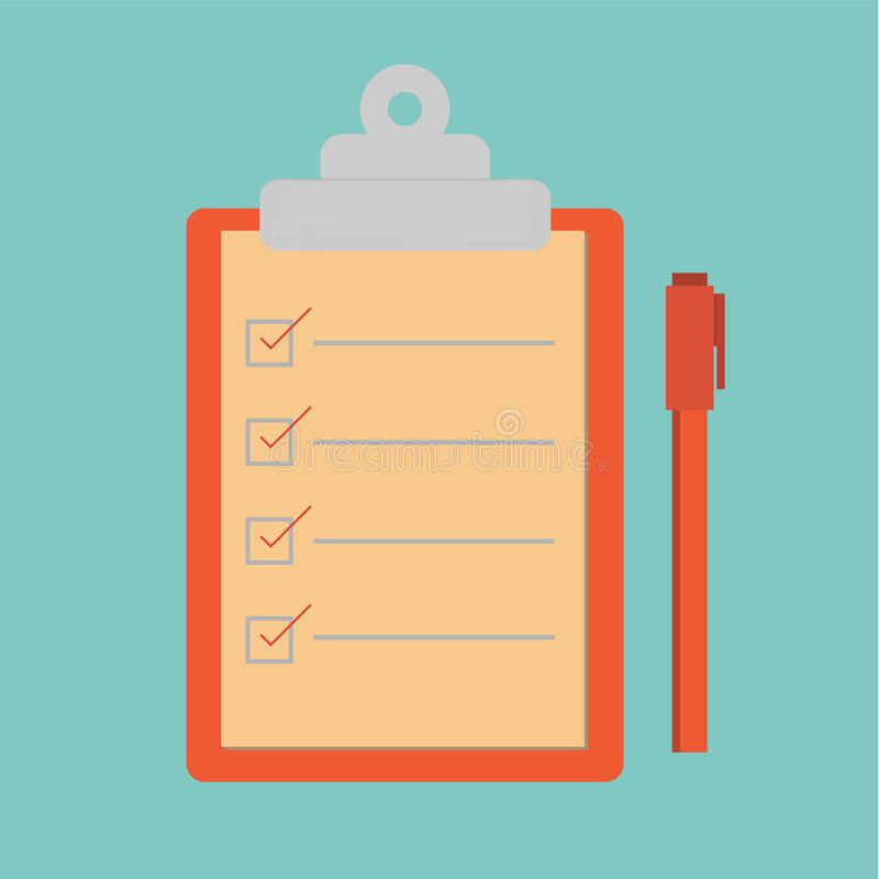 Lista di controllo di vettore e penna rossa illustrazione vettoriale