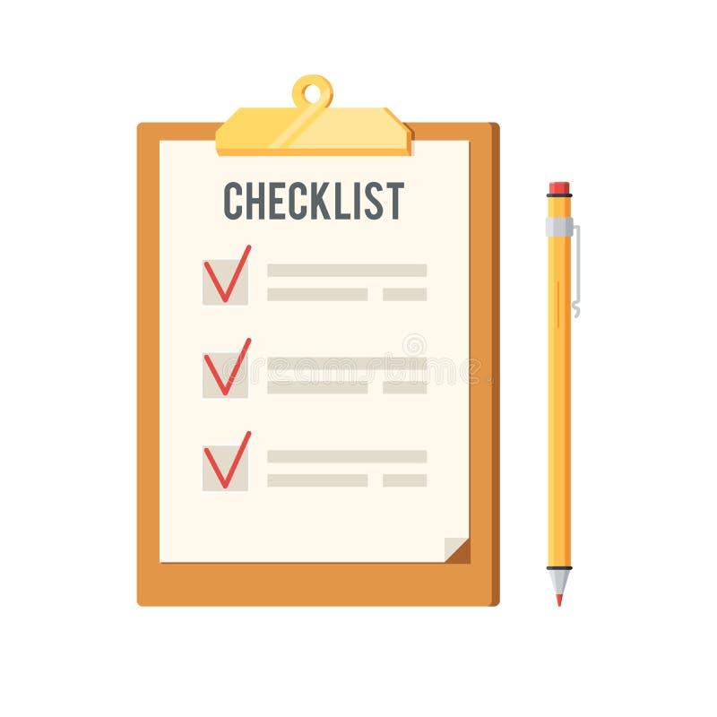 Lista di controllo ed icona della penna royalty illustrazione gratis
