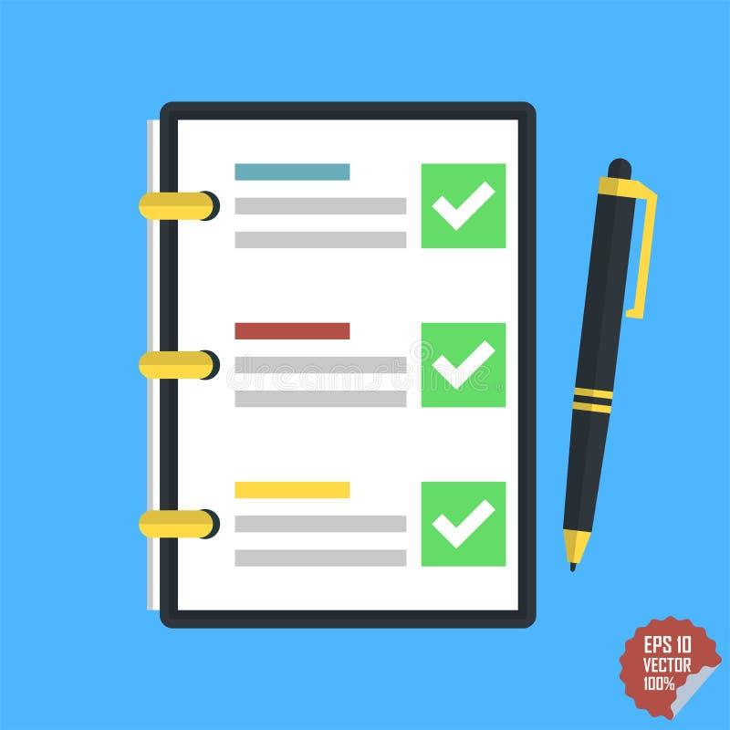 Lista di controllo, mansioni complete, lista di da fare, indagine, concetti dell'esame immagine stock