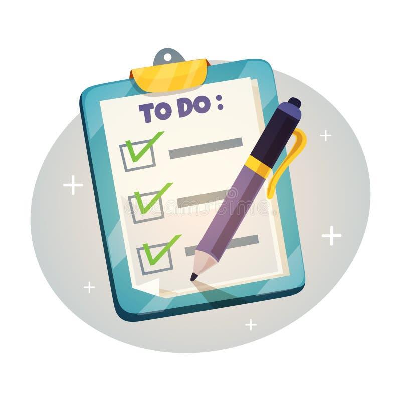 Lista di controllo sul concetto di progetto della lavagna per appunti per fare lista con i segni di spunta e la penna royalty illustrazione gratis