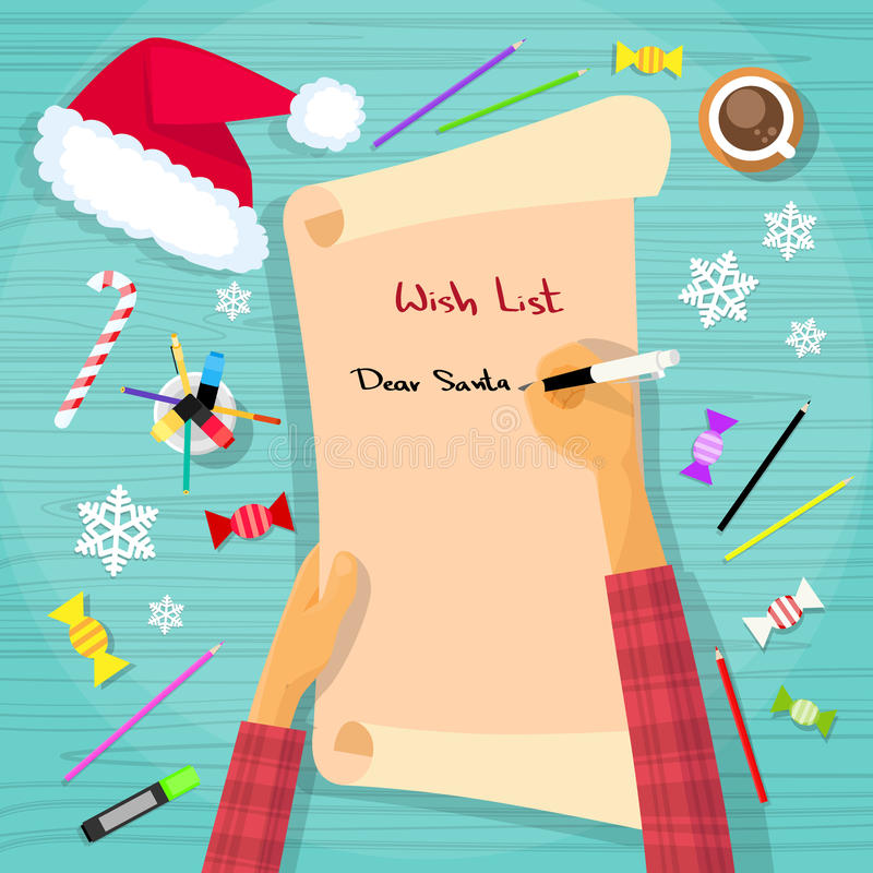 Lista di obiettivi di Buon Natale a Santa Clause Child royalty illustrazione gratis