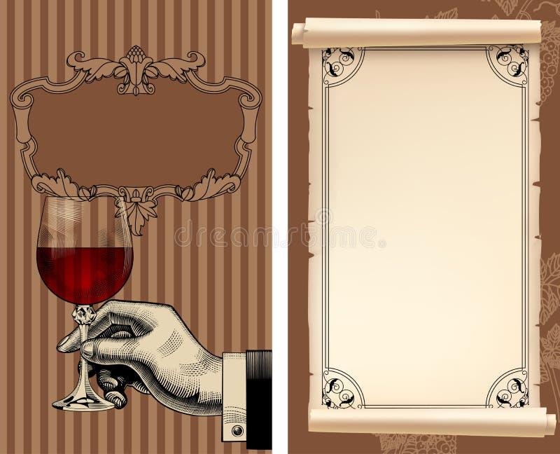 Lista di vino con la mano che tiene un bicchiere di vino e una vecchia pergamena illustrazione vettoriale