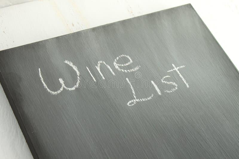 Lista di vino della lavagna fotografia stock