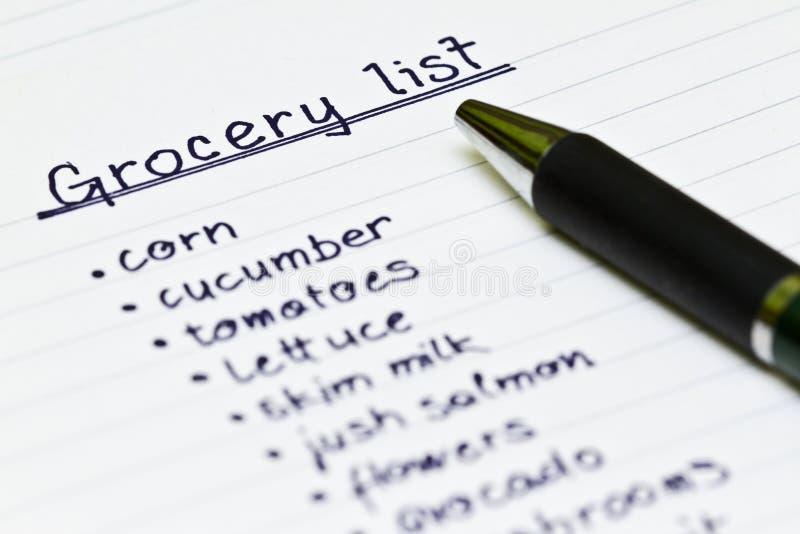 Lista do mantimento imagem de stock