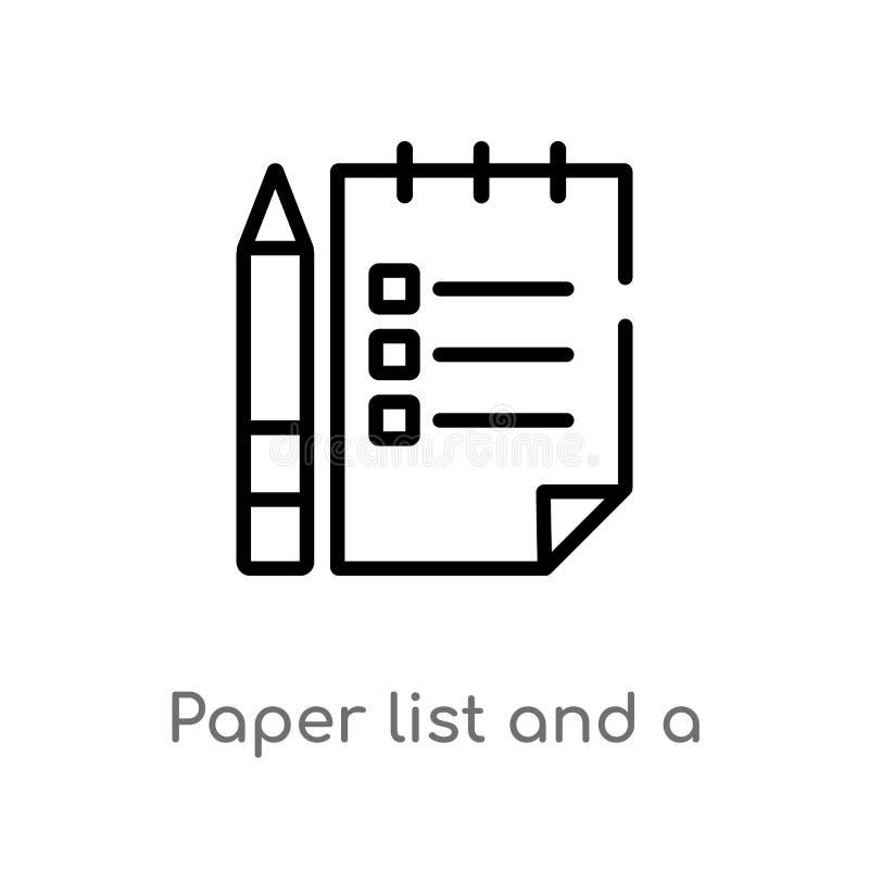 lista do papel de esboço e um ícone do vetor do lápis linha simples preta isolada ilustração do elemento do outro conceito Vetor  ilustração royalty free