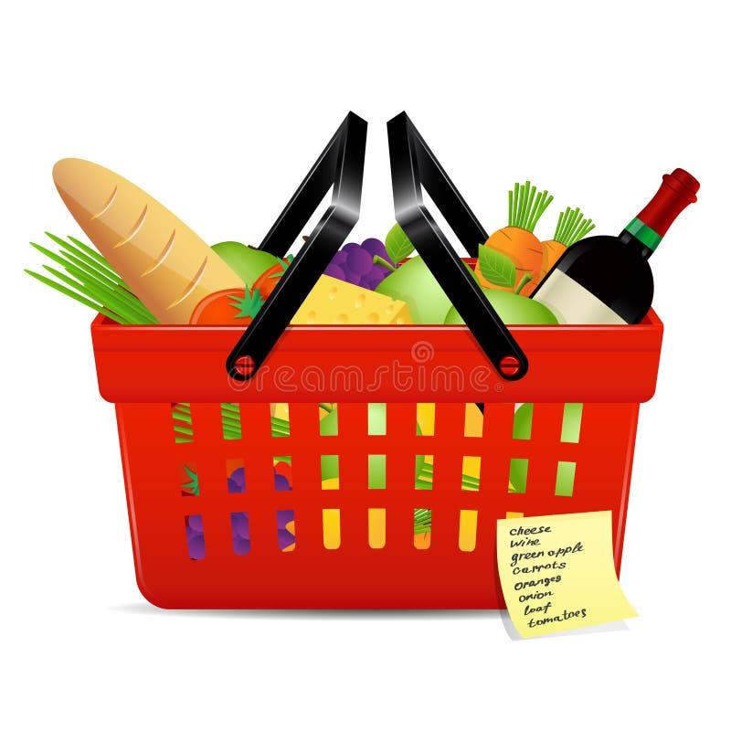 Lista e canestro di acquisto con gli alimenti illustrazione di stock