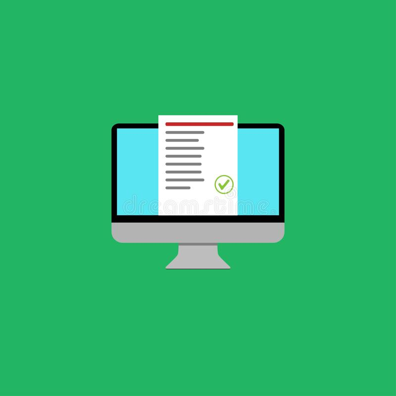 a lista em linha do teste da educação do computador aprovou o projeto ilustração royalty free