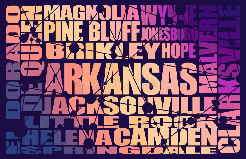 Lista för Arkansas statstäder vektor illustrationer