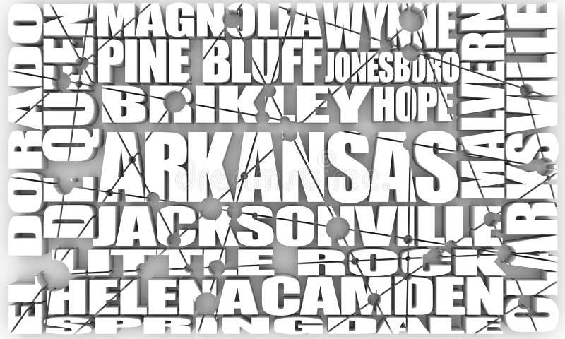 Lista för Arkansas statstäder stock illustrationer