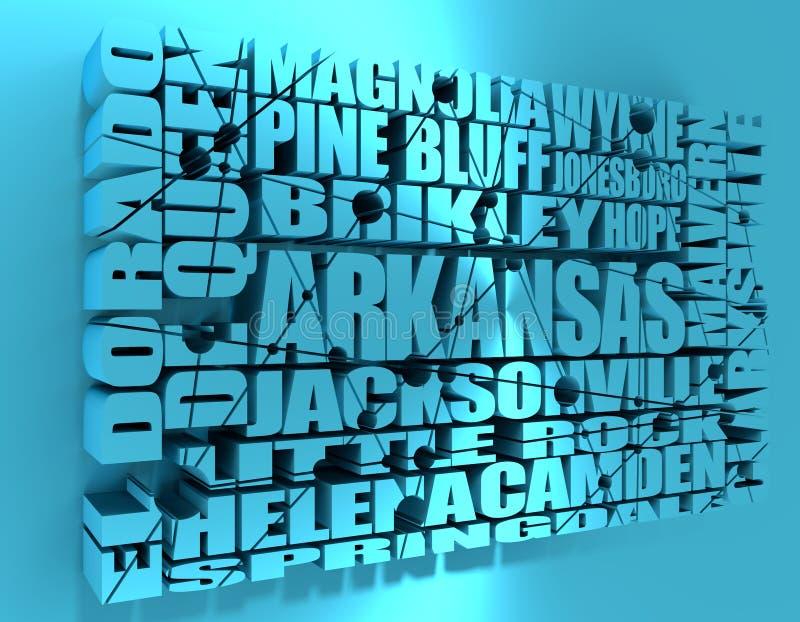 Lista för Arkansas statstäder royaltyfri illustrationer