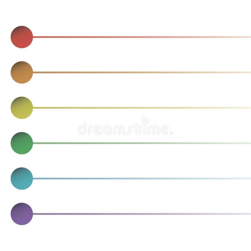Lista för rundaknappremsa av målarfärgunderstrykningskolonnen som isoleras på den vita modellen för bakgrundsvektorregnbåge vektor illustrationer