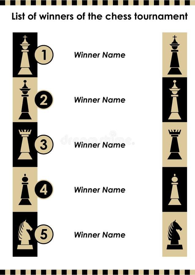 Lista för schackturneringvinnare med schackstycken, schacksymbol som symboler av vinnare, beställning av fem namn vektor illustrationer