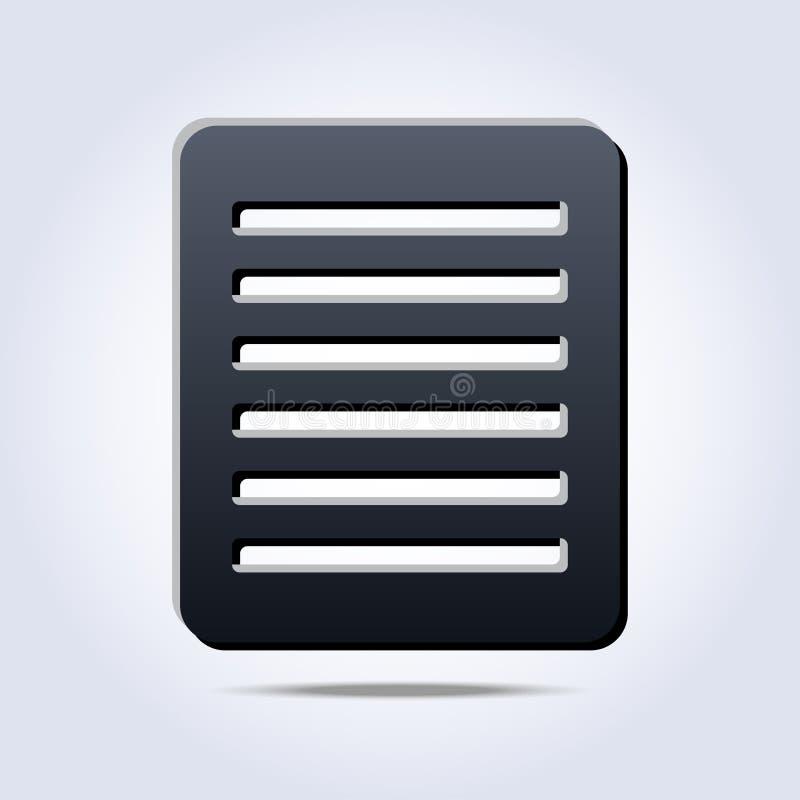 Lista gris con el icono del texto stock de ilustración