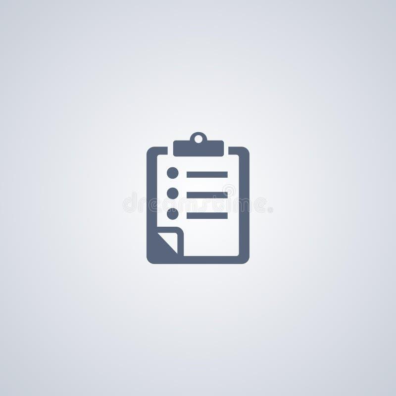 Lista kontrollista, bästa plan symbol för vektor royaltyfri illustrationer