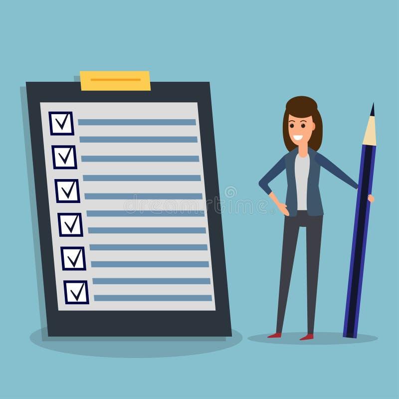Lista kontrolna, bizneswoman, ołówek royalty ilustracja