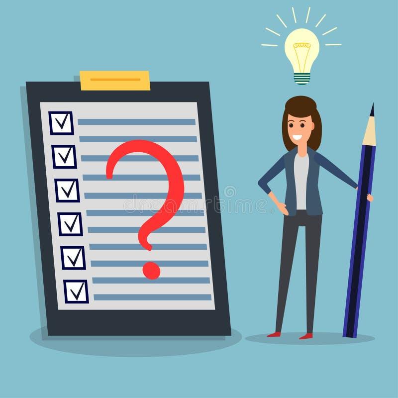 Lista kontrolna, bizneswoman, ołówek, ocena, pomysł żarówka ilustracja wektor