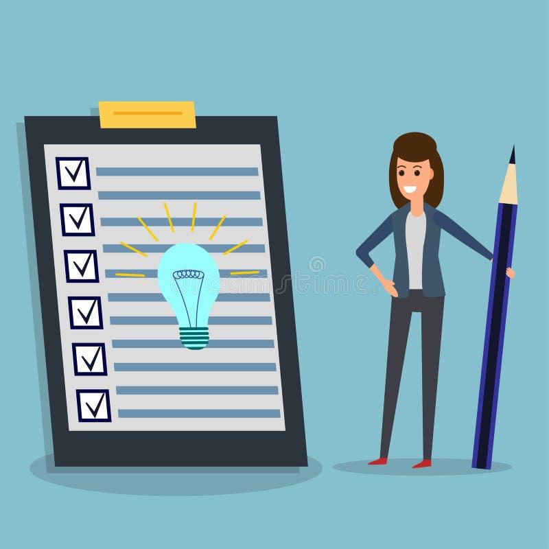 Lista kontrolna, bizneswoman, ołówek, pomysł żarówka ilustracja wektor