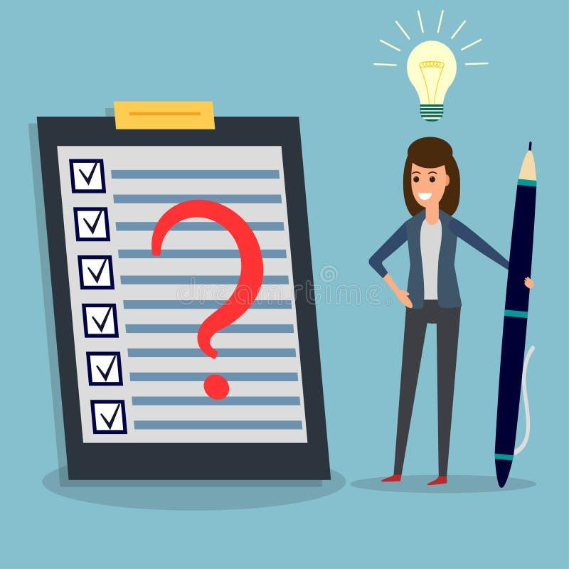 Lista kontrolna, bizneswoman, pióro, ocena, pomysł żarówka ilustracja wektor