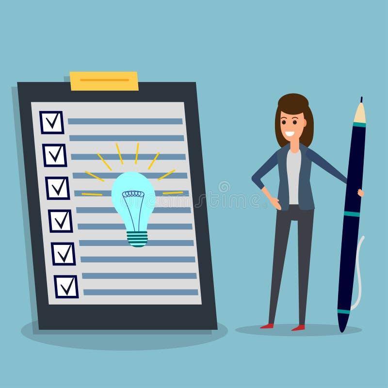 Lista kontrolna, bizneswoman, pióro, pomysł żarówka royalty ilustracja