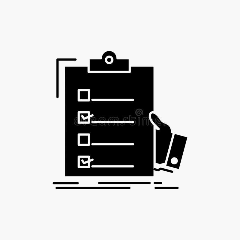 lista kontrolna, czek, wiedza specjalistyczna, lista, schowka glifu ikona Wektor odosobniona ilustracja royalty ilustracja