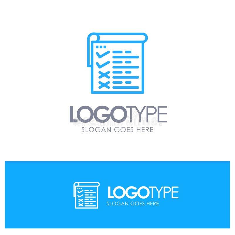 Lista kontrolna, testowanie, raport, Qa Błękitnego logo Kreskowy styl royalty ilustracja