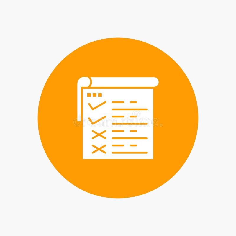 Lista kontrolna, testowanie, raport, Qa glifu biała ikona ilustracji