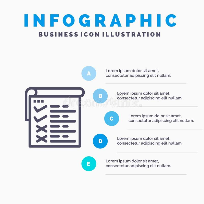 Lista kontrolna, testowanie, raport, Qa Infographics szablonu 5 Błękitni kroki Wektor ikony kreskowy szablon ilustracji