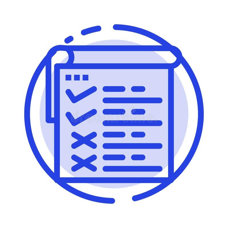 Lista kontrolna, testowanie, raport, Qa linii linii błękit Kropkująca ikona ilustracji