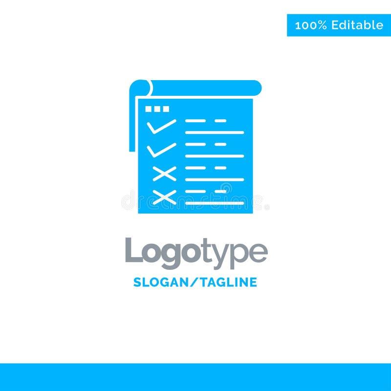 Lista kontrolna, testowanie, raport, Qa logo Błękitny Biznesowy szablon ilustracji
