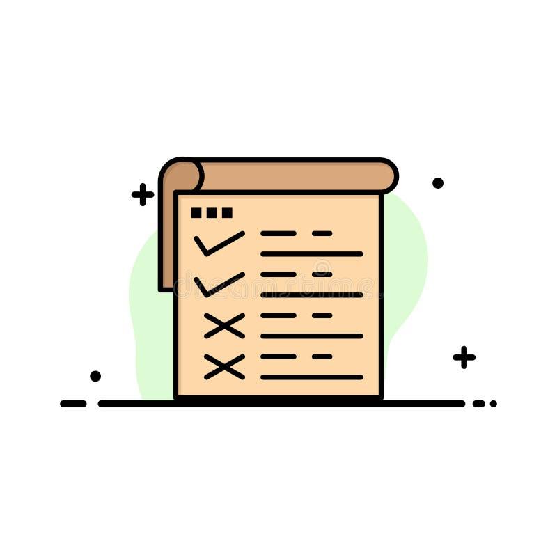 Lista kontrolna, testowanie, raport, Qa mieszkania ikony sztandaru Biznesowa linia Wypełniający Wektorowy szablon royalty ilustracja
